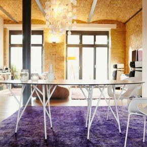 Jan Kurtz Tisch ASTWERK, 215x110cm, Stahlrohr pulverbeschichtet weiß, Platte: HPL 10 mm, weiß, Niveauausgleich
