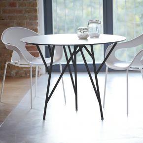 Jan Kurtz Tisch ASTWERK, Ø 100 cm, Stahlrohr pulverbeschichtet schwarz, Platte: HPL 10 mm, weiß, Niveauausgleich