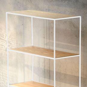 Jan Kurtz Aufbauel. für Anbauel. HOME 80 x 80 cm, Gestell: Stahlrohr weiß, 1 Boden: Echtholzfurnier, Eiche