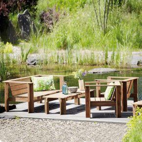 Jan Kurtz Batten Lounge Set, recyceltes teak