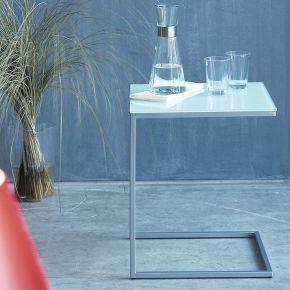 Jan Kurtz Beistelltisch CLASSICO, Gestell: Stahlrohr lunasilber: ESG-Platte: rot, 60 x 60 cm
