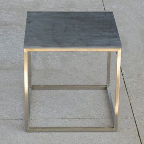 Jan Kurtz Beistelltisch PINO, Edelstahlgestell geschliffen mit Keramik-Tischplatte anthrazit, 40 x 40 cm