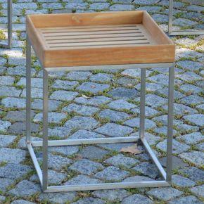 Jan Kurtz Beistelltisch PINO, Edelstahlgestell geschliffen mit Tablett aus Teakholz, 40 x 40 cm