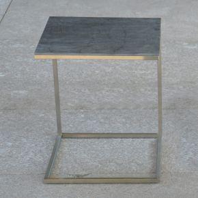 Jan Kurtz Beistelltisch PIZZO, Edelstahlgestell geschliffen mit Keramik-Tischplatte anthrazit, 40 x 40 cm