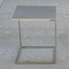 Jan Kurtz Beistelltisch PIZZO, Edelstahlgestell geschliffen mit Keramik-Tischplatte grau, 40 x 40 cm