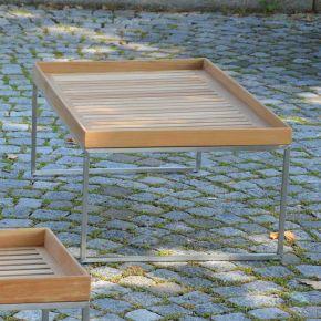 Jan Kurtz Beistelltisch PIZZO, Edelstahlgestell geschliffen mit Tablett aus Teakholz, 110 x 60 cm