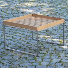 Jan Kurtz Beistelltisch PIZZO, Edelstahlgestell geschliffen mit Tablett aus Teakholz, 60 x 60 cm