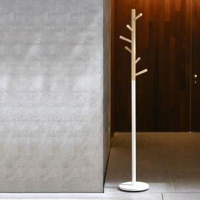 Jan Kurtz Garderobenständer KENT, Buche natur/Stahlrohr weiß 182 cm hoch, Rohr: Ø 3,8 cm, Fuß: Ø 32 cm