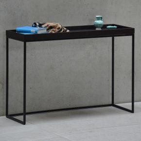 Jan Kurtz Konsolentisch PIZZO, Gestell: Stahlrohr pu`beschi. weiß, Tablett: Nussbaum, 100 x 34 x ca.70 cm