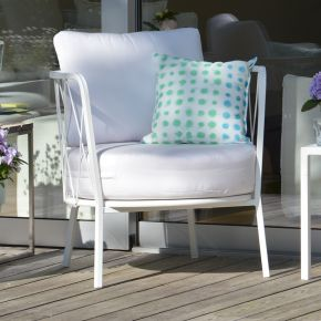 Jan Kurtz Loungesessel SUNDERLAND, Stahl pulverbeschichtet weiß matt, ca.73 x 74 x 68 cm, Sitzhöhe ca.48 cm