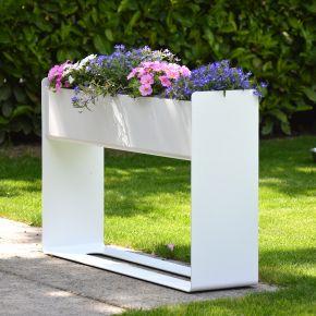Jan Kurtz Blumenkasten PLACE, Aluminium pulverbeschichtet, weiß RAL 9016, 80 x 20 x 50 cm, mit Ablaufloch