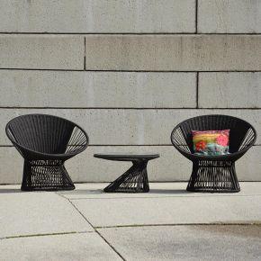 Jan Kurtz RAY Sessel und couchtisch Set, gestell: aluminium, bespannung: 100% polyesterseil, Ø 6 mm schwarz