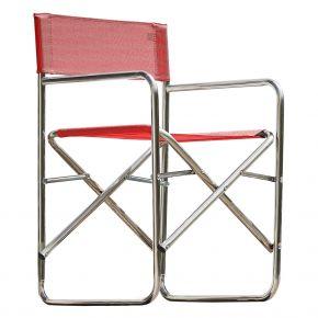 Jan Kurtz REGIESESSEL, Gestell: Aluminium, Bezug: Kunststoffgewebe rot