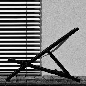 Jan Kurtz RIMINI DECKCHAIR, Gestell: Aluminium schwarz, Bezug: Kunststoffgewebe schwarz