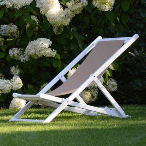 Jan Kurtz RIMINI DECKCHAIR, Gestell: Aluminium weiß, Bezug: Kunststoffgewebe taupe