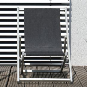 Jan Kurtz RIMINI DECKCHAIR, Gestell: Aluminium eloxiert, Bezug: Kunststoffgewebe schwarz