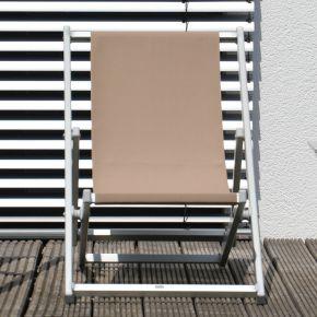 Jan Kurtz RIMINI DECKCHAIR, Gestell: Aluminium eloxiert, Bezug: Kunststoffgewebe taupe