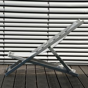 Jan Kurtz RIMINI DECKCHAIR, Gestell: Aluminium eloxiert, Bezug: Kunststoffgewebe weiß