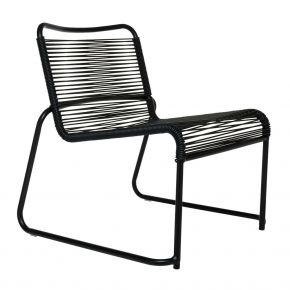 Jan Kurtz Loungesessel LIDO, Gestell: Aluminium schwarz, Bespannung: PVC-Band schwarz
