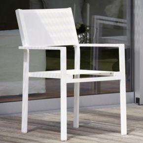 Jan Kurtz Stapelsessel CUBIC, Aluminiumgestell weiß mit Batyline®-Bezug in weiß