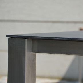 Jan Kurtz Tisch LUX BASE, Edelstahl mit Keramik-Tischplatte in schwarz, 209 x 90 cm