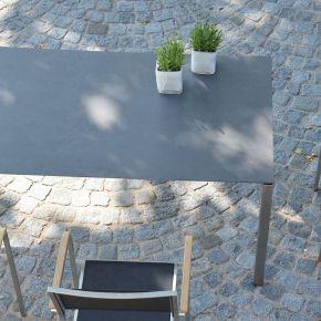 Jan Kurtz Auszugstisch LUX EXCELL, Edelstahl mit Keramik-Tischplatte in schwarz, 160x90 cm mit Einlegeplatte 60x90 cm