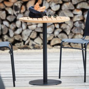 Jan Kurtz Bistrotischgestell WAY,  Ø 40 cm, 74 cm hoch Stahlrohr weiß matt RAL 9016,  Säule: Ø 5 cm