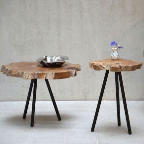 Jan Kurtz Tischplatte RIFF, Teak massiv ca. 60x60x6 cm, jeder Tisch ein Unikat!