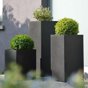 Jan Kurtz Vase PLANTER Stahl, pulverbeschichtet schwarz 33 x 33 cm, 80 cm hoch