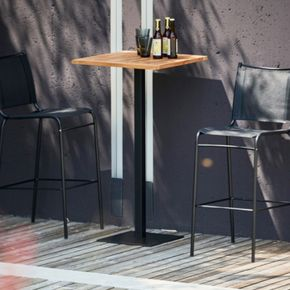 Jan Kurtz Bistrotischgestell WAY,  40 x 40 cm, 110 cm hoch Stahlrohr schwarz matt RAL 9005,  Säule: 5 x 5 cm