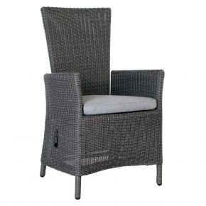 Stern Sortino Sessel Geflecht basaltgrau, stufenlos verstellbar inkl. Sitzkissen seidengrau, 100% Polyacryl mit Reißverschluss