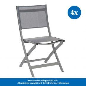 4x Stern Balkonklappstuhl Joe, Aluminium graphit mit Textilenbezug silbergrau