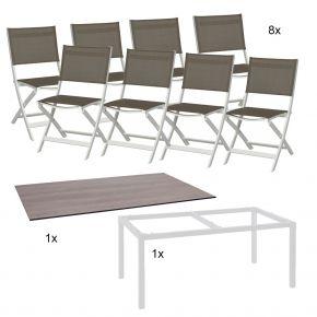 Stern Gartenmöbel Set Joe 10-teilig Klappstühle und Tischgestell aus Aluminium mit Tundra Tischplatte