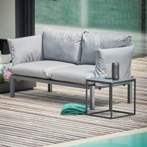 Jan Kurtz 2-Sitzer Sofa DOMINO, 140 x 70 x 85 cm, Gestell: Aluminium schwarz, inkl. Kissenset: graphitgrau