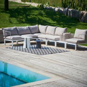 Jan Kurtz 2-Sitzer Sofa DOMINO, 140 x 70 x 85 cm, Gestell: Aluminium weiß, inkl. Kissenset: taupe