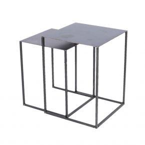 Jan Kurtz 2-Satztisch PUR, 27,5x27,5x35 cm / 30x30x40 cm Stahlrohr pulverbeschichtet schwarz