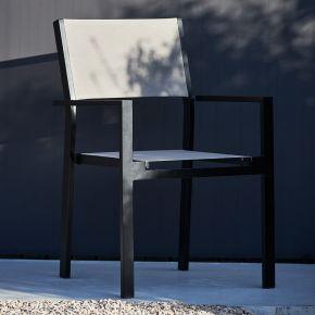 Jan Kurtz Stapelsessel CUBIC, Aluminiumgestell schwarz matt mit Batyline®-Bezug in taupe
