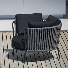 Jan Kurtz Lounges. SUNDERLAND-ROPE XL, Stahl pulverb.schwarz Rücken: Polyesterseil, Ø 100 x 69 cm, SH: 40 cm