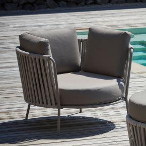 Jan Kurtz Lounges. SUNDERLAND-ROPE XL, Stahl pulverb.taupe Rücken: Polyesterseil, Ø 100 x 69 cm, SH: 40 cm