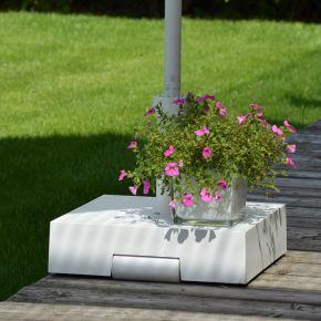 Jan Kurtz Schirmständer UP, Kunststoff weiß, rollbar, 40 x 40 x 10 cm, 30 kg,  für Stockmaß: Ø 21-54 mm
