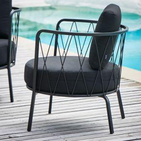 Jan Kurtz Loungesessel SUNDERLAND, Stahl pulverbeschichtet schwarz matt, ca.73 x 74 x 61 cm, Sitzh. ca.48 cm