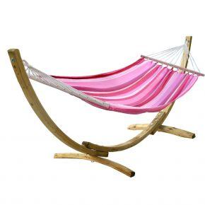 Einzel-Stabhängematte Kolumbiana Fantasy red-pink-white mit Holzgestell Brasil Okeanos aus FSC-Fichte