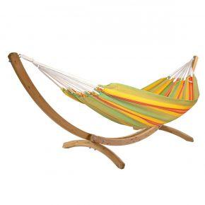 Einzel-Tuchhängematte Kolumbiana Kiwi mit Holzgestell Brasil Okeanos aus FSC-Fichte
