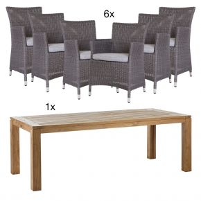 Komplettset Gartentisch Rennes aus Teakholz 220x100 cm mit 6x Geflechtsessel Sortino Geflecht basaltgrau Modell 2018