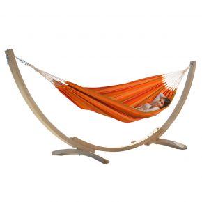 Einzel-Tuchhängematte Kolumbiana Mango Sun mit Holzgestell Brasil Okeanos aus FSC-Fichte