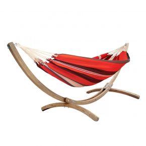 Einzel-Tuchhängematte Kolumbiana red-black-white mit Holzgestell Brasil Rio Grande aus FSC-Fichte