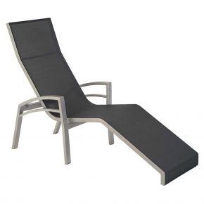 Stern Relaxliege Balance 2 70x160x115, Alu graphit mit Textilen silbergrau und Armlehnen graphit, kippbar