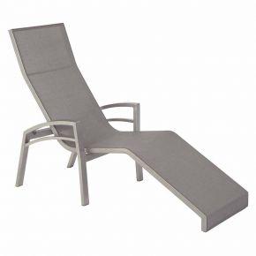 Stern Relaxliege Balance, Aluminium graphit mit Textilenbezug silbergrau und Aluminiumarmlehnen graphit, kippbar