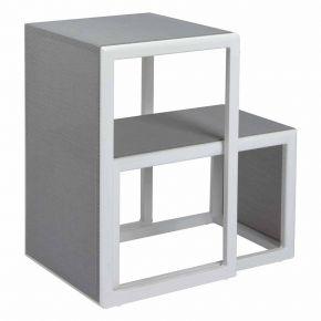 Stern Beistelltisch Brothers, Aluminium weiß mit Textilenbezug silber, zweiteilig