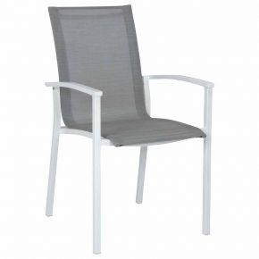 Stern Evoee Stapelsessel weiß mit Textilenbezug silber und Aluminiumarmlehnen weiß